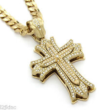 "Mens Large Thick Cross Gold Iced Out Pendant 30"" Inch Necklace Cuban Chain G07"
