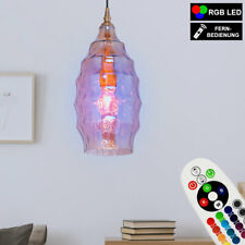 RGB LED Colgante Lámpara de Techo Control Remoto Champán Cristal Péndulo Luz