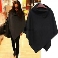 Ladies Warm High Neck Solid Poncho Women Knitted Wrap Cape Shawl Coat ILOE