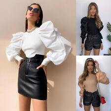 Women Casual Blouse Tops T Shirt Tee Jumper Office Holiday Shirt Puff Sleeve UK