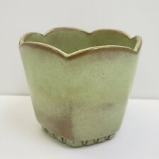 "Frankhoma Pottery Planter 4.5"" Tulip Edge Light Jade Green"