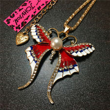Red Enamel Rhinestone Pearl Butterfly Betsey Johnson Pendant Chain Necklace