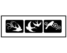 Glitzer Tattoo Schablonen 3 teilig Bird, Airbrush