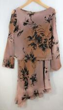 ADRIANNA PAPELL BOUTIQUE 100% Silk 2-piece DRESS Size 6 Blush with Black Beading