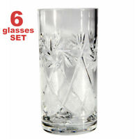 Tall Crystal Faceted HIGHBALL TUMBLER Glasses SET OF 6. Clear Water Juice Glass