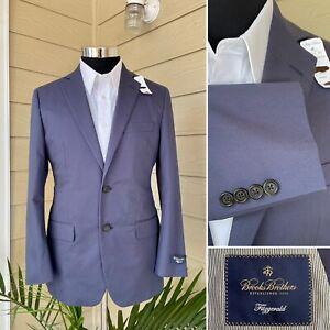 Brooks Brothers Fitzgerald Blue Tessuti Cotton Suit Jacket Blazer Size: 38S
