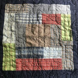 Pottery Barn Kids Euro Sham Patchwork Madras Plaid Blue Red Boy's Quilted 26x26