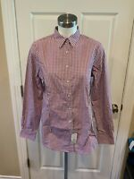 Brooks Brothers Purple Gingham Plaid Button-Up Long Sleeve Shirt, Size 10, NWT!