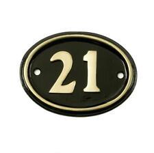 Polished Brass & Black Oval House Number Sign - Number 21