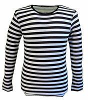 Mens Retro Mod 60s Indie Black & White Cotton Long Sleeved T Shirt