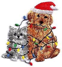 CHRISTMAS CAT & DOG w/Xmas Lights Iron On Patch Kitten Puppy Santa Holidays