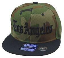 NEW LOS ANGELES LA 3D EMBROIDERY FLAT BILL SNAPBACK CAP HIP HOP HAT CAMO/BLACK