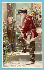HTL156 Hold to Light Christmas Santa delivers doll to child