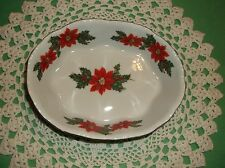 "VINTAGE LEFTON CHRISTMAS DISH~5""~SCALLOPED EDGE POINSETTA BOWL~VTG HOLIDAY BOWL"