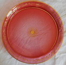 Plateau / Plat ancien en verre (rose et or)
