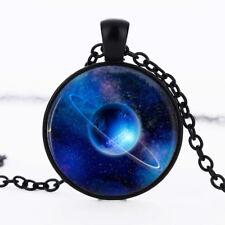 Cosmic Blue Planet photo dome Black Cabochon Glass Necklace chain Pendant