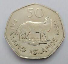 Exclusiva moneda 50 peniques falkland 1980 grande