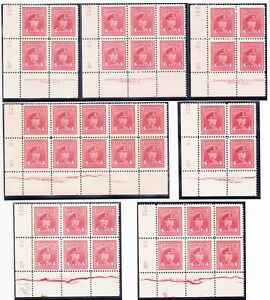 Canada 1943 4c BLOCKS SG380 SHOW PROGRESSIVE EXPANSION OF PLATE CRACKS-ALL MNH