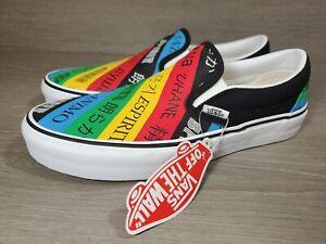 NEW Vans Slip On Skateboarding Shoes Spirit Multi/White Mens Size 6 Wmns 7.5