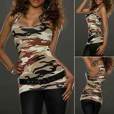Womens New Sleeveless Tank Blouse Ladies Camouflage Camisole Vest Tops Cami
