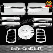 For Dodge Ram 1500 2010-2015 Chrome Upper Mirror 4 Door Taillight Gas Covers Tw