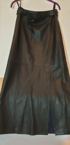 Designer Escada Sport Fine Black Natural Leather Ladies Skirt, Size 38/UK10