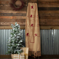 New Primitive Country PRIM CHRISTMAS BLESSINGS THROW Red Star Tree Blanket