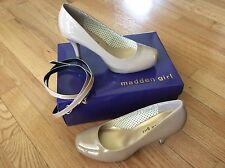 Steve Madden girl Getta patent nude size 7.5 pumps heels New In Box ankle straps