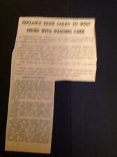 62-11 Ephemera 1968 Article Penzance Bridegina Matthews Takes Cake To West Indie