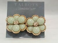 TALBOTS GOLD PLATED GREEN LUCITE FLOWER CLIP EARRINGS