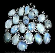 Rainbow Moonstone 10 Pcs Wholesale Lots 925 Sterling Silver Plated Pendant Ff-11