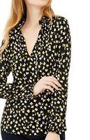Michael Kors Women's Black Floral Print Long Sleeve Tie Neck Blouse Size XL