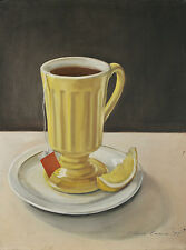 """""""Teacup"""" By Claire Evans (1977) Signed Oil on Canvas 24""""x18"""""""