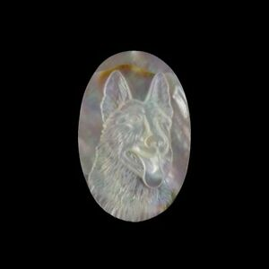 Carved Dog MOP Pearl CAB GL008065