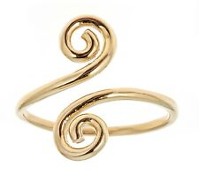 Adjustable Ring or Toe Ring 14k Solid Yellow Gold Swirl