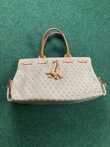 Dooney & Bourke Tiny Tassle Tote Beige Wool Cotton Canvas Leather RN 61689 HW48Q