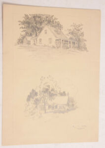 """Architecture House 2-Up Pencil Sketch - Raymond H Otto 1929 ~8x11"""" VINTAGE A002"""