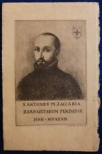 CARD INC. F.TA N. GALLI - S. ZACCARIA FONDATORE BARNABITI - 1924