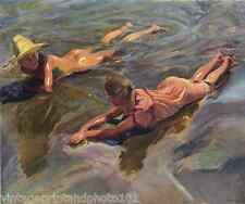 Summer Fun Beach Sea Waves Girl Boy- Sorolla 8x10 Print Ocean Warm Water Art 129