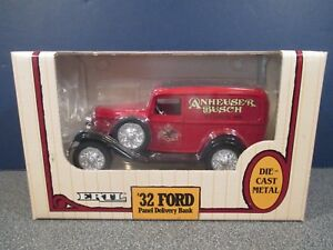 1932 FORD PANEL DELIVERY ANHEUSER  BUSCH  DIE  CAST BANK , ERTL – NEW