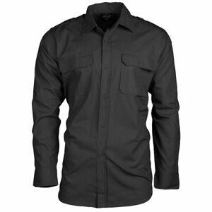 Mil-Tec Long Sleeve Field Military Army Hiking Bush Tactical Cotton Shirt Black