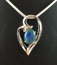 Unique Heart Design Triplet Opal Necklace Pendant Twice 18ct White Gold Plated