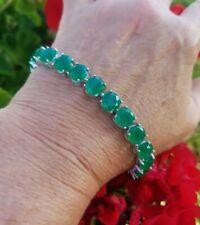"Round Columbian Emerald Tennis Bracelet, Rhodium/925 Silver, Sz 8"""