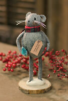 """Primitive/Farmhouse  Country fabric Christmas Lil' Buddies MOUSE 8"""" doll"""