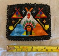 Vintage Native Beaded Coin Purse Leather hand made