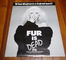 Vtg PETA Cassandra Peterson ELVIRA Vegan FUR DEAD Animal Rights Activist POSTER