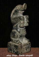 13Cm Natural Hetian Old Jade Carving Beast Seal Signet Stamp Statue Sculpture
