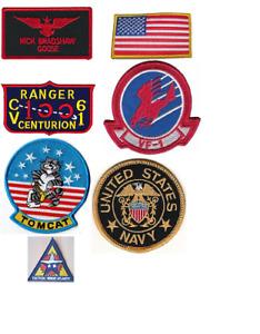Top Gun Goose Nick Bradshaw Patch Set Sew On US Navy Flight Suit Patches 80s TV