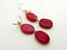 Beautiful 14k Yellow Gold Dangle Ruby Flat Beads Leverback Earrings