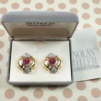 Nolan Miller Goddess of Love Pink Crystal Heart Pave Rhinestone Clip Earrings